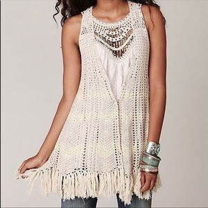 Free People button up crochet vest with fringe